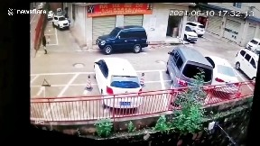 item: 'Cars fall from 6-metre-high raised road after collision in China'