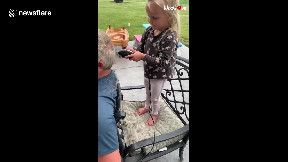 item: 'Canadian girl gives granddad haircut without realising the razor's guard fell off'