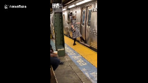 item: 'New Yorker gets foot stuck in middle of closing subway doors'
